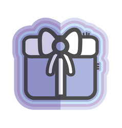figure gift present with ribbon decoration to vector image