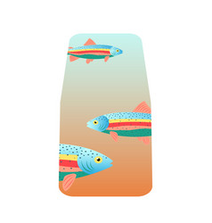 fish cat food packaging with rainbow trout vector image