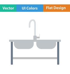 Flat design icon of Double sink vector