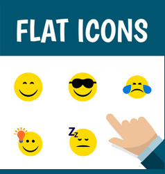 flat icon face set of cold sweat happy have an vector image
