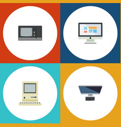 flat icon laptop set of display pc computing and vector image