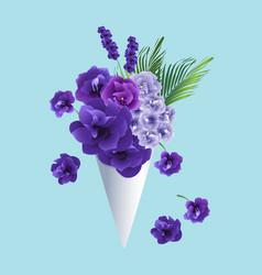 Flowers in cone vector