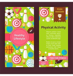 Flyer Template of Healthy Lifestyle Objects and vector
