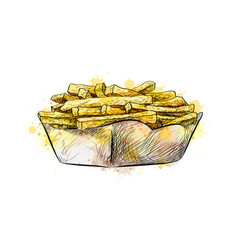 french fries in paper basket from a splash vector image