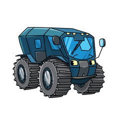 Funny rover car or amphibious vehicle with eyes vector