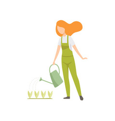 Girl watering seedlings with a watering can vector