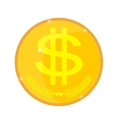 Gold coin isolated with a dollar sign vector image