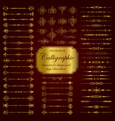 golden calligraphic dividers and elements vector image
