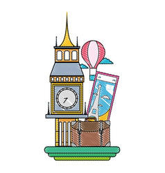 Grated big ben of london with air balloon vector