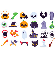 halloween icons holiday symbols moon and spider vector image