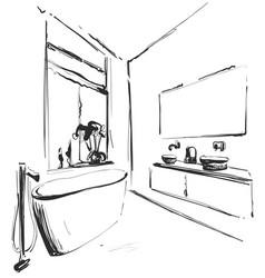 Hand drawn bathroom interior sketch washbasin vector