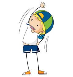 happy boy enjoy dancing doodle cartoon character vector image