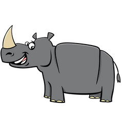 Happy rhinoceros cartoon animal character vector