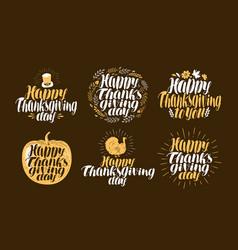 happy thanksgiving label set holiday logo vector image