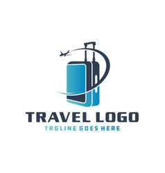 Holiday travel suitcase logo vector