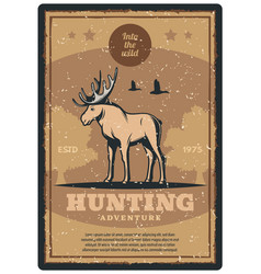 hunting retro poster for hunter sport club design vector image