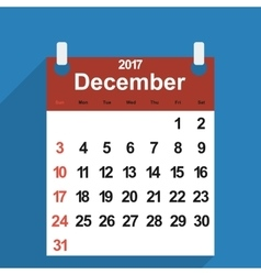 Leaf calendar 2017 with the month of December vector image
