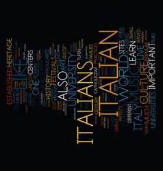 Learn and live like an italian text background vector