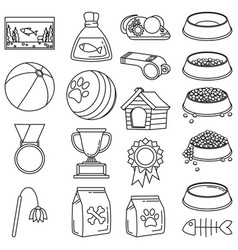 line art black and white 19 pet shop elements vector image