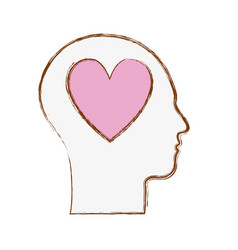 Line silhouette head with heart inside vector