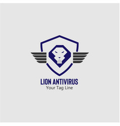Lion antivirus logo template vector