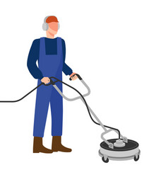 man with pressure washer surface cleaner vector image