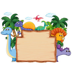 Many dinosaur on wooden banner vector