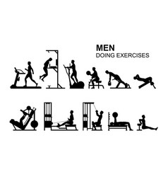 Men doing exercises vector