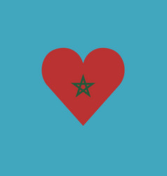 morocco flag icon in a heart shape in flat design vector image