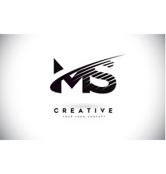 Ms m s letter logo design with swoosh and black vector
