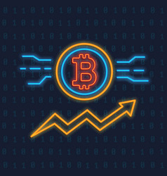 Neon bitcoin logo crypto currency glowing icon vector