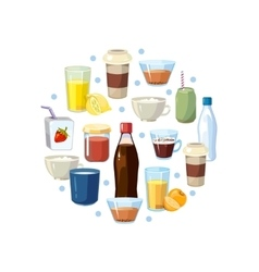Non alcoholic drinks concept in circle vector