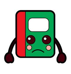 Notebook sad school supplies kawaii icon imag vector
