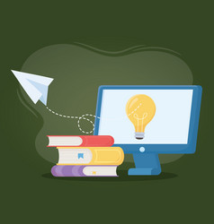 Online education computer idea books and paper vector