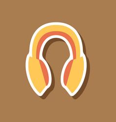 Paper sticker technology gadget headphones vector