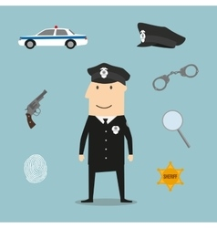 Police profession icons and symbols vector image