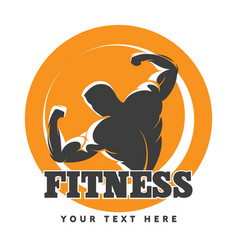 Posing bodybuilder fitness emblem vector