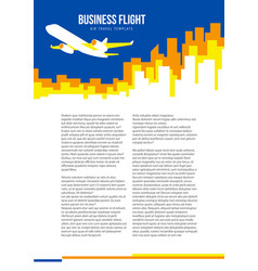 Poster template with plane taking off and city vector