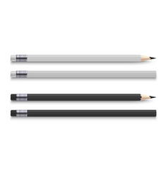 realistic pencils with eraser sharpened wooden vector image