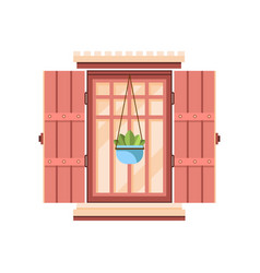 retro window with wooden shutters architectural vector image