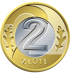 reverse Polish Money two zloty coin vector image