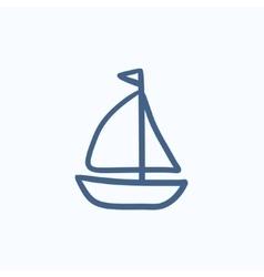 Sailboat sketch icon vector image