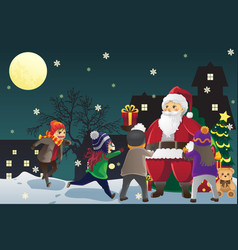 Santa claus giving out christmas presents to kids vector