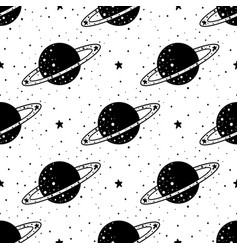 Seamless pattern mystical planet with stars and vector
