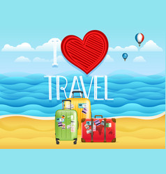Seaside i love travel vector