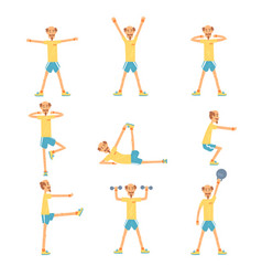 Senior man character exercising set healthy vector