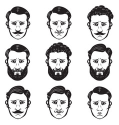 set man heads with different hairstyle barber vector image
