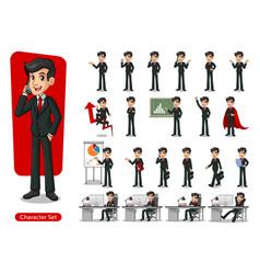 set of businessman cartoon character design vector image