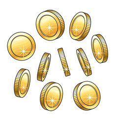 Set of hand drawn shiny gold coins in various vector