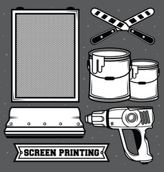 Set screen printing icon vector